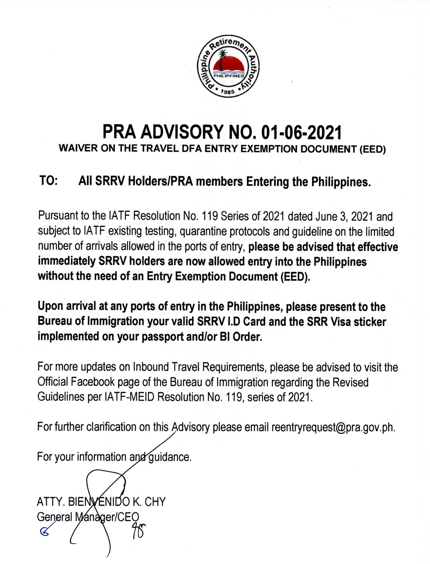 フィリピン退職庁(PRA)発表の資料-旅行用DFA入国免除書類(EED)の免除について